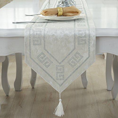 RUGAI-UE Table Runnerluxury High-Grade Fabric Flag White 33×210Cm