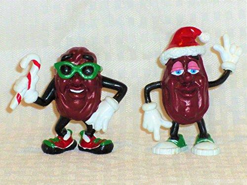 Calrab Applause, California Raisins, PVC Figures - Set of 2, Christmas, Santa and Candy Cane Man, 3