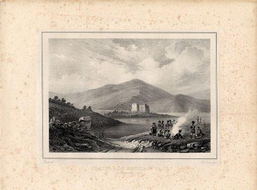 Impresión antigua-Dunstaffnage ThePrintsCollector castillo de Escocia-Pernot-1827