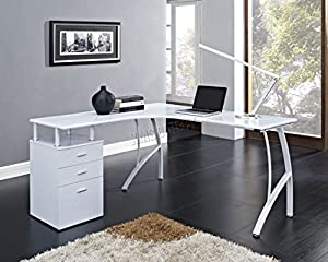 Foxhunter L Shaped Computer Desk With 3 Drawers Pc Table Home Office Furniture Study Gaming
