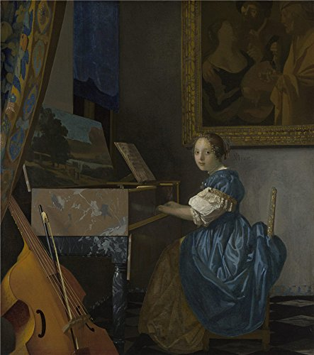 Oil painting 'Johannes Vermeer A Young Woman seated at a Virginal ' printing on polyster Canvas , 20 x 23 inch / 51 x 57 cm ,the best Hallway gallery art and Home decoration and Gifts is this High quality Art Decorative Canvas Prints