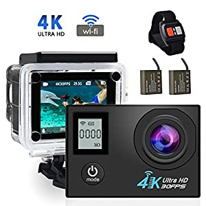 4K WIFI Action Camera,ZOTO Dual Screen Sport Cameras Underwater to 30M,170 Degree 1080P Full HD Camcorder with 2PCS 900mAh Rechargeable Battery,Kits of Accessories,Anti-Shake Sports Waterproof Cameras