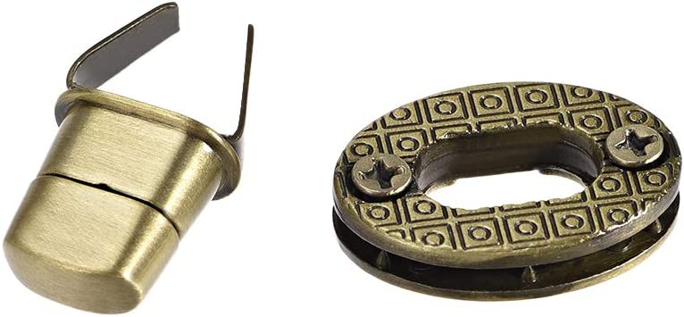 Brussed Brass uxcell 1 Set Oval Purses Twist Lock 23mm X 17mm Clutches Closures for DIY Bag Making