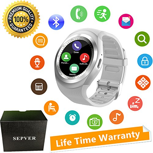 SEPVER Smart Watch Round Bluetooth Smartwatch Unlocked Watch Cell Phone with SIM Card Slot for Samsung LG Sony HTC HUAWEI Google Xiaomi Android Smart Phones and ios iPhone Men Women Kids (White)