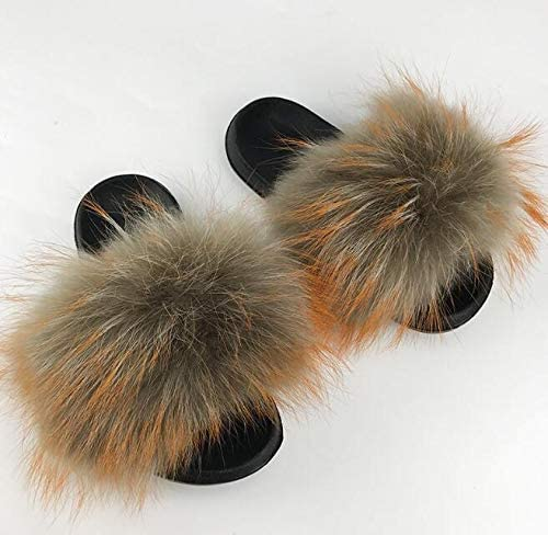 Real Fox Slippers Slides Shoes Slippers Flip Flops Sandals Sliders Bottom Shoes,Raccoon F EVA,6.5