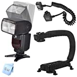 SAVEoN XIT Photo XTDF260C Auto Power Zoom LCD A/F Flash + U Bracket + TTL Cord + SAVEoN Cloth for Canon 5D, 300D, 350D, 450D, 400D, 10D