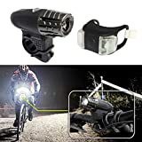 DZT1968 USB Rechargeable 360° Rotation Automatic Bike Bicycle Front Lamp Headlight+ Rear Light Set