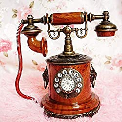 HONGGE Mantel Clocks,Mini Clock Phone Model Retro Clocks Home Decoration Ornaments 10x15x18cm