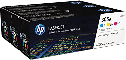 - HP 305A (CF370AM) Cyan, Magenta & Yellow Original Toner Cartridges, 3 Cartridges (CE411A, CE412A, CE413A) for HP LaserJet Pro 400 Color MFP M451nw M451dn M451dw, Pro 300 Color MFP M375nw