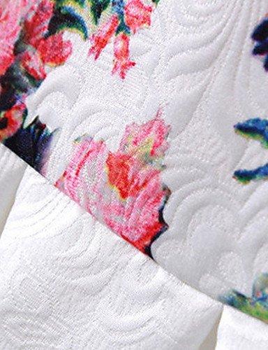 PU&PU Robe Aux femmes Gaine Street Chic,Fleur Col Arrondi Au dessus du genou Polyester , white-m , white-m