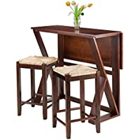 Winsome 3-Piece Harrington Drop Leaf High Table with 2 Rush Seat Stools, 24-Inch, Brown