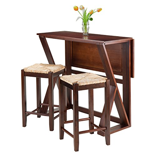 Walnut Drop - Winsome 3-Piece Harrington Drop Leaf High Table with 2 Rush Seat Stools, 24-Inch, Brown