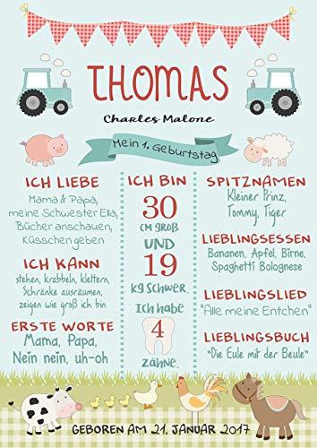 Meilensteintafel Meilensteinposter Geburtstagsposter Zum 1