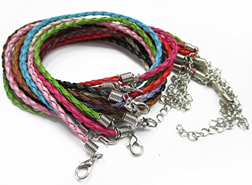 """ALL in ONE Mixed Color Braided Leather Cord Necklace with Lobster Clasp Extended Chain 17""""-19"""" (MIX 10PCS) - Braided Necklace Cord"""