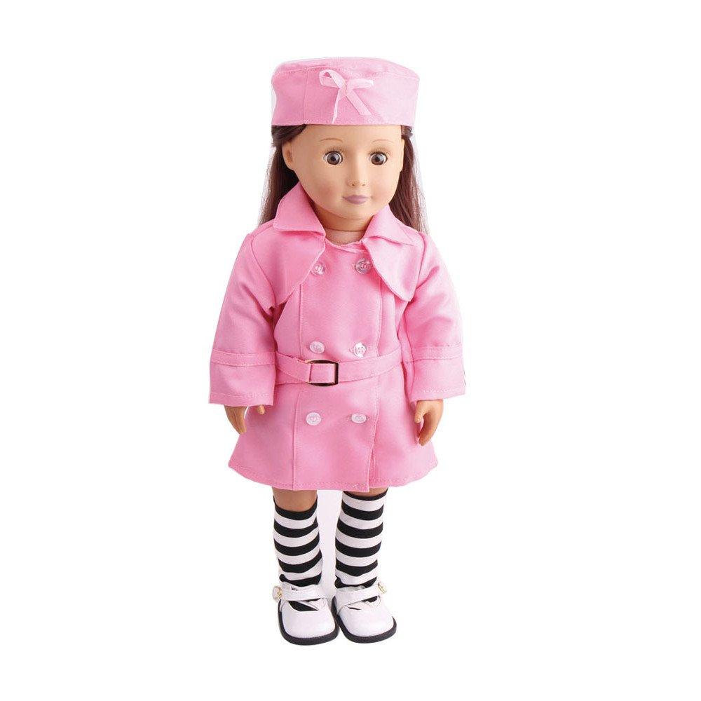 Amerikanerin Puppe Krankenschwester Rock 3 teiliges Set c49 (ohne Puppen), Malloom 3PC Puppe Kleidung Arbeit Uniform mit Hüten und Socken für 18 Zoll für American Girl Doll Malloom-Bekleidung