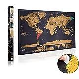 Mapa del Mundo, Sebami Mapa del Mundo Raspado en Oro Negro para Registro Sus Aventuras de Viaje en un Mapa detallado del Mundo (Negro)
