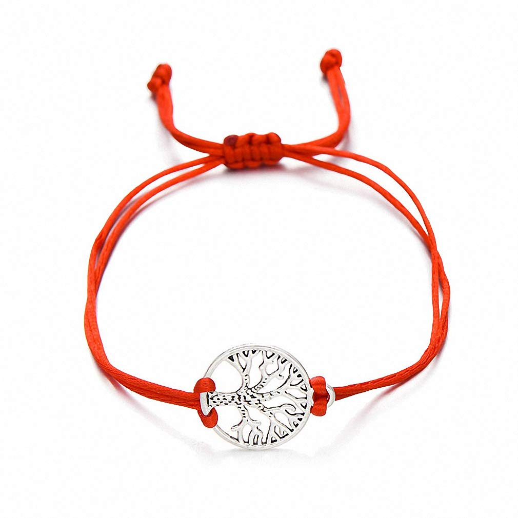 Womens Bracelet Newest Silver Color Life Tree Charm Bracelets for Women Men Kids Simple Red String Braided Bracelet Couple DIY Jewelry Gift