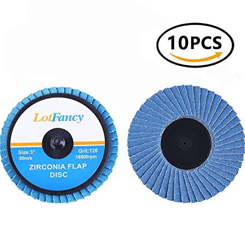 3 Inch 120 Grit Roloc Roll Lock Flap Disc by LotFancy, T27, High Density Zirconia Alumina Sanding Discs Grinding Flat Wheels, Pack of 10 Quick Change Zirconia Discs