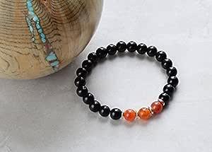 JP_Beads Pulsera de chakra raíz/ágata roja/jaspe negro con cuentas para hombre/mujer/unisex/pulsera de cuentas de piedras preciosas unisex/pulsera de cristal de chakra raíz 8 mm