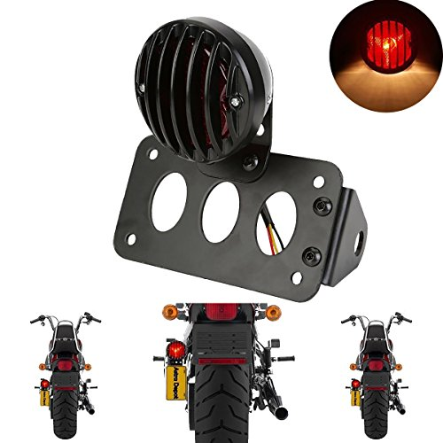 TUINCYN Red Motorcycle Tail Light with Black Heavy Duty Motorcycle 12V Brake Stop Running Light Indicators Blinkers Lights with License Plate Holder 1-Pack (Motorcycle Stop Light)