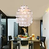Ouku White Shell Pendant Chandelier (Chrome Finish) E26/E27 for Bedroom, Living Room