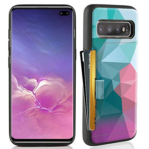 ZVE Case for Samsung Galaxy S10 Plus (2019), 6.4 inch, Case with Credit Card Holder Slot Slim Leather Pocket Protective Case Cover for Samsung Galaxy S10 Plus (2019), 6.4 inch - Diamond (Best Student Credit Card 2019)