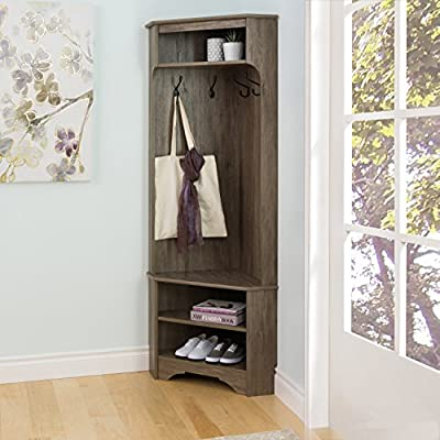"Prepac  Corner Hall Tree, Drifted Gray - Finished in Drift Gray laminate Assembled dimensions 30.5""W x 72"" H x 19"" D 1 Bench, 2 fixed shelves and 1 adjustable shelf - hall-trees, entryway-furniture-decor, entryway-laundry-room - 51IQ6lVeksL. SS400  -"