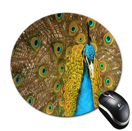 BlueBerry Design Blue Peacock Design Round Mouse Pad Mousepa