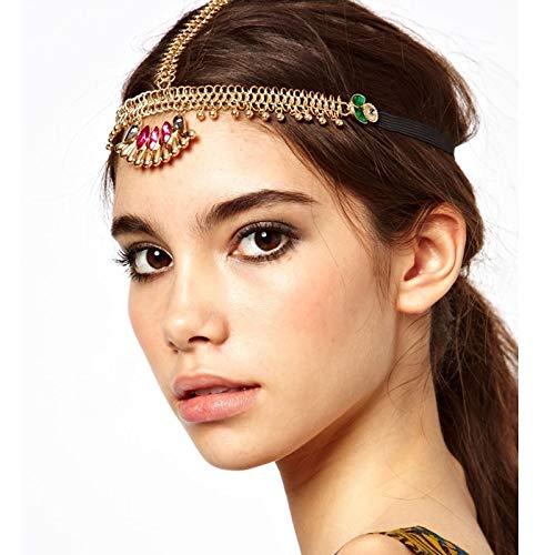 - Bohemian Seaside Resort Hair Accessories Headdress Indian Goddess Exaggerated Amount Chain Gemstone Necklace Pendant Jewelry Women Girls Beach (Gold Flash Rhinestone Section