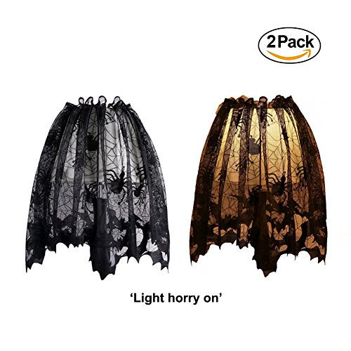 3 In 1 Halloween Black Lace Spider Web Lampshade Topper/Window Wag/Fireplace Mantle Scarf/,Halloween Home Decor Essentials,Size:20x60inch/51x152cm,2 (Lace Decor Lampshade Topper)