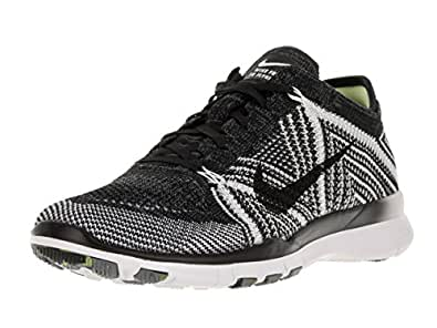 Nike Womens Free Tr Flyknit Black/Black/White/Volt Running Shoe 6.5 Women US