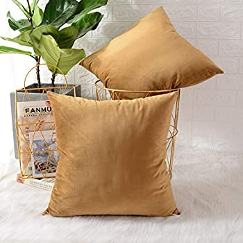 MERNETTE Pack of 2, Velvet Soft Decorative Square Throw Pillow Cover Cushion Covers Pillow case, Home Decor Decorations for Sofa Couch Bed Chair 22x22 Inch/55x55 cm (Gold)