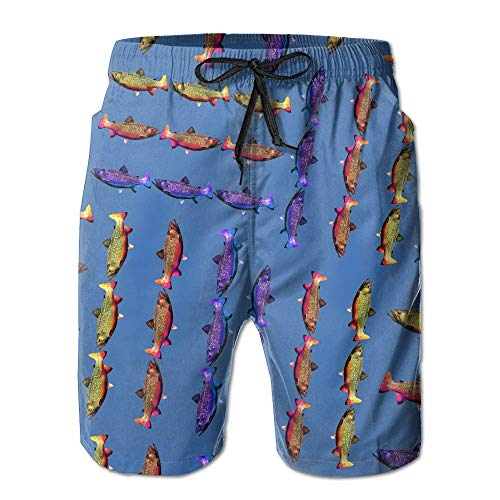Rainbow-Golden-Brook-Trout Men Quick Dry Summer Shorts Lightweight Drawstring Swim Trunks with ()