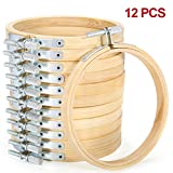 KINGSO 12pc 4 inch Cross Stitch Kits Embroidery Hoop Embroidery Circle Set Hoops Cross Stitch Hoop Ring Wooden Round Adjustable Bamboo Hoops For Art Craft Handy Sewing