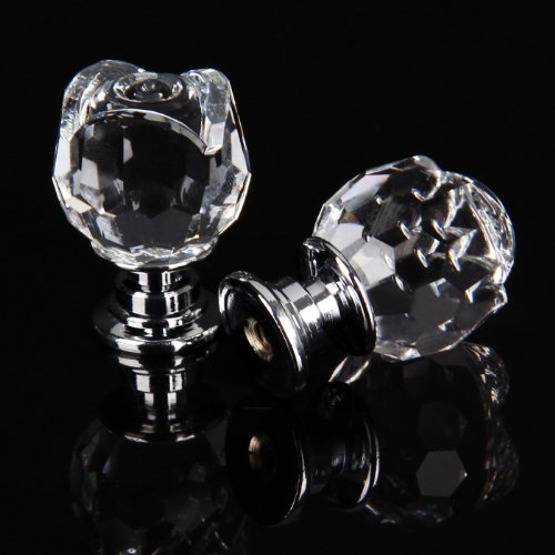 Revesun 6PCS/LOT Diameter 20mm Clear Crystal Glass Rose Shaped Door Knobs Cabinet Pulls Cupboard Handles Drawer Knobs Wardrobe Home Hardware