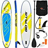 "Goplus 11' Inflatable Stand Up Paddle Board, 6"" Thick SUP with Accessory Pack, Adjustable Paddle, Carry Bag, Bottom Fin, Hand Pump, Non-Slip Deck, Leash, Repair Kit, for Youth and Adult"