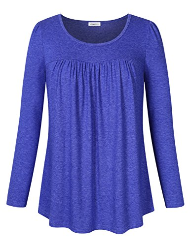 (Clearlove Women's Tops and Blouses Long Sleeve Scoop Neck Plus Size Pleated Tunic T Shirt Long Sleve Dark Blue Large)