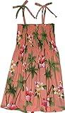 RJC Girls Hibiscus Plumeria Elastic Tube Dress CORAL 6X