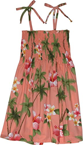 RJC Girls Hibiscus Plumeria Elastic Tube Dress CORAL 6X by RJC
