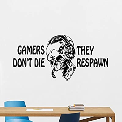 Gaming Quote Wall Decal Gamers Don't Die Video Game Gamepads Playroom Vinyl Sticker Gamer XBox PS PC Home School College Office Kids Living Room Wall Decor Nursery Wall Art Design Bedroom Mural 59thn