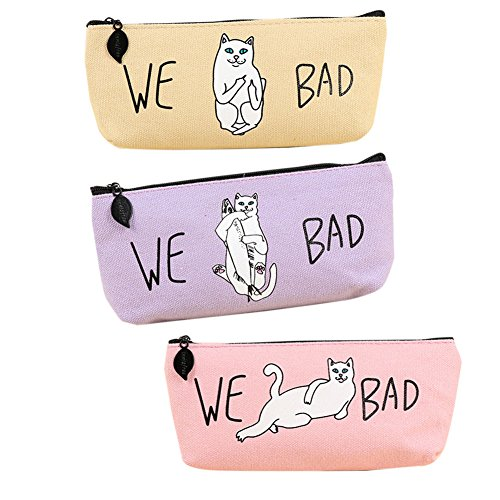 [Korean fashion style Purple Beige Pink Canvas pencil case Adult makeup bag women] (Girl Popeye Costume)