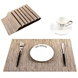 SHINYKDY Placemats for Dining Table,Set of 8,Woven Vinyl,Washable,Rectangular,Kitchen Decorative Place Mats 18 X 12 Inch(Bamboo Brown