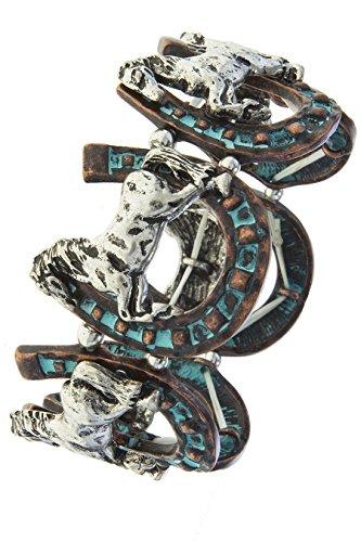 KARMAS CANVAS HORSE SHOE ETCHED CUTOUT BRACELET (Patina/Silver) (Hippie Horse Costume)