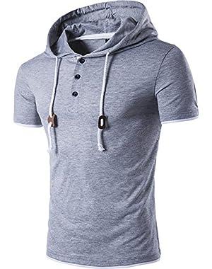 Mens Casual Short Sleeve Drawstring Hoodie Slim Fit T-Shirt Tee Tops JZA046