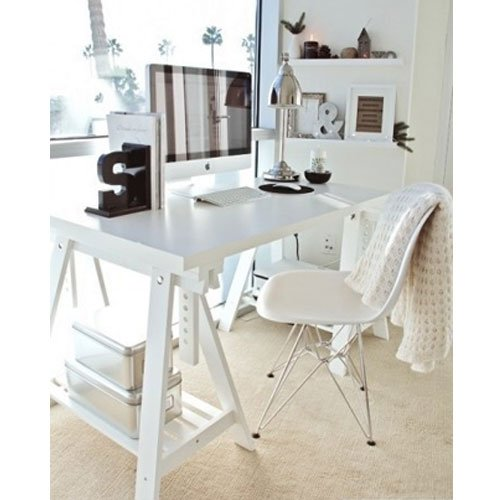Genial Amazon.com: White Wood Desk Table Leg Trestle With Shelf , Height And Angle  Adjustable , Also Great For Drafting Table Tops: Kitchen U0026 Dining