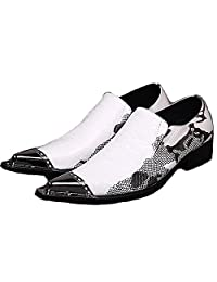 US Size 5-12 New White Slip On Leather Mens Formal Dress Loafers Steel Toe Shoes