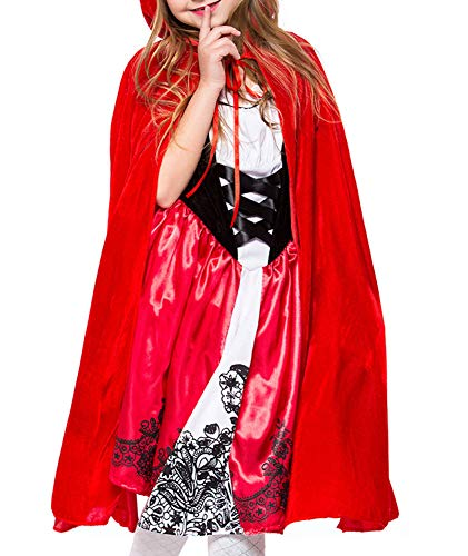 Indistyle Girl's Cosplay Costumes Holloween 2 Pieces Velvet Hooded Cloak Cape Dress Set -