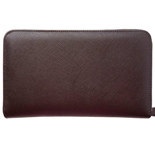16 CC Saffiano Zip Around Travel Wallet Brown by 72 SMALLDIVE