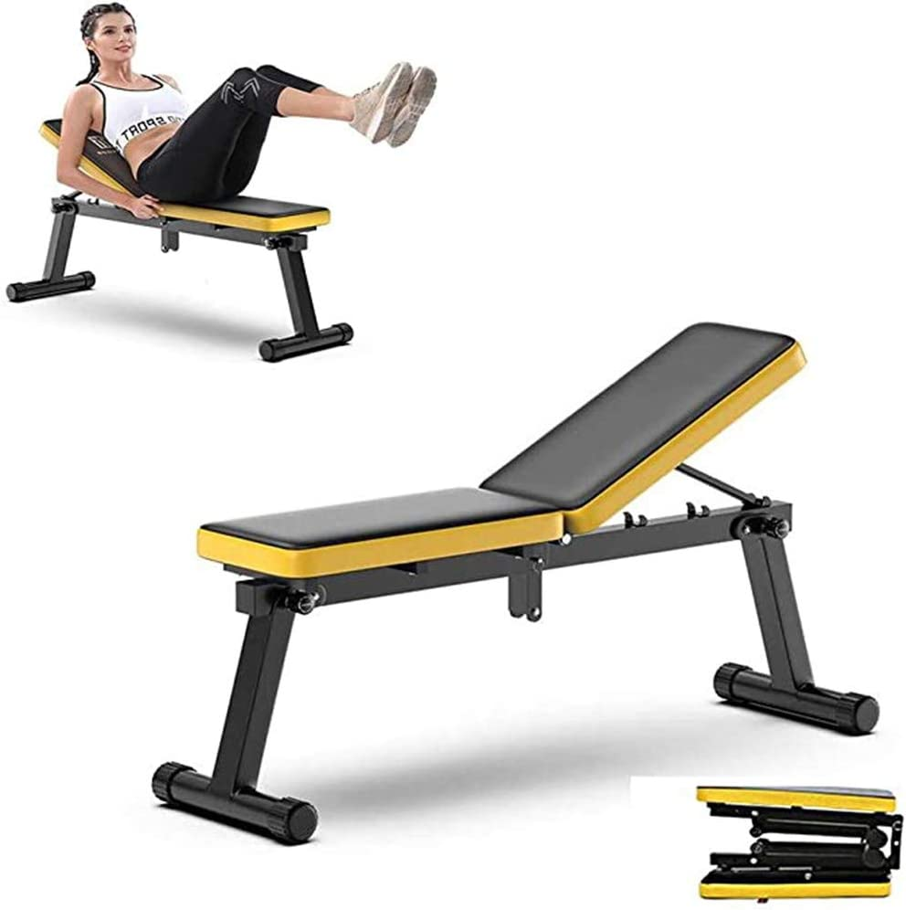 Save Space for Body Workout Fitness Load Bearing 200KG 3 Adjustable Height- Portable Folding Sturdy Steel Frame Adjustable Exercise Weight Bench