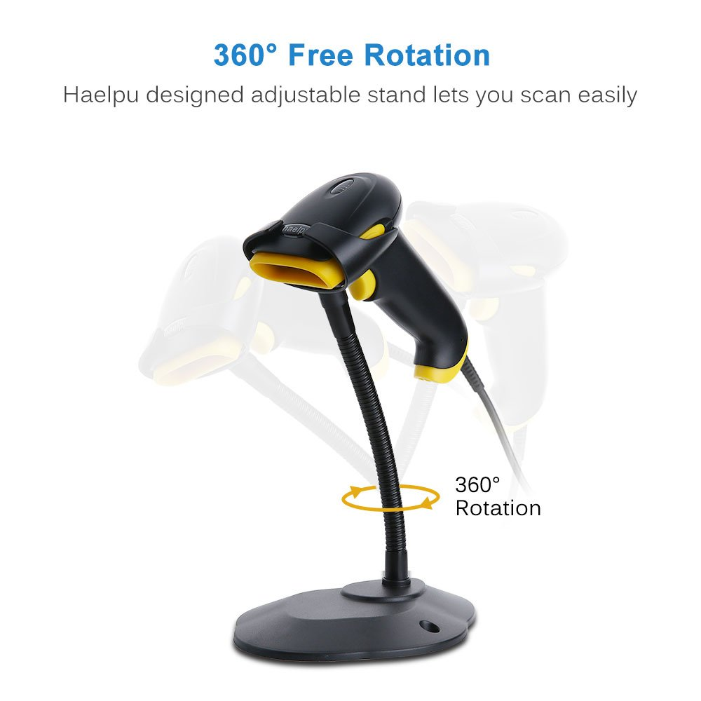 Barcode Scanner with Stand, haelpu Wired Handheld 1D Laser Bar Code Scanner  with Handsfree Adjustable Stand USB Automatic Sensing Scan Barcode Reader
